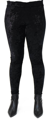black stretch velvet full length legging front view