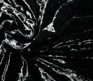 black stretch velvet close up swatch of fabric