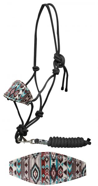 Showman ® Navajo diamond print bronc nose rope halter
