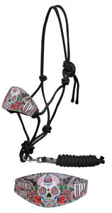 "Showman ® Sugar skull "" Never give up!"" bronc halter."