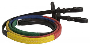 Showman ® Multi-colored english training reins.