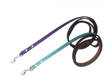 Showman Couture ™ 8ft Glitter overlay leather dog leash.