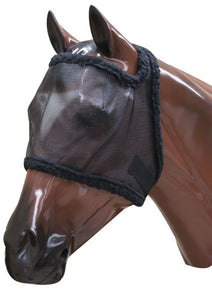 Mesh nylon fly mask with fleece lined edges and velcro adjustment.