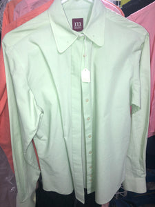 Mint green long sleeve button up ladies