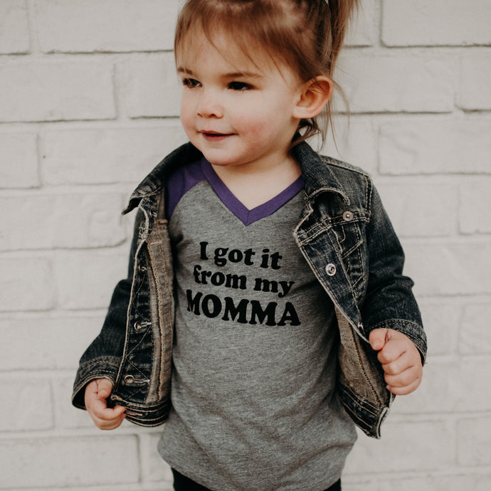 I Got It From My Momma - Grey/Purple Raglan