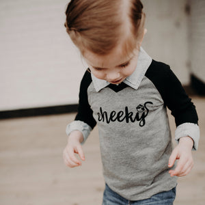 Cheeky Monkey - Grey/Black Raglan