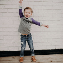 Cheeky Monkey - Grey/Purple Raglan