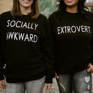 EXTROVERT - Adult Crewneck Black Sweater