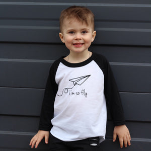I'm So Fly - Black/white raglan