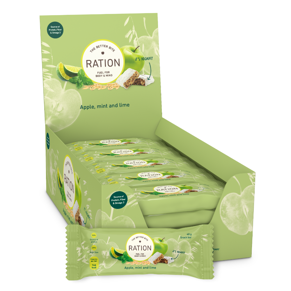 The Better Bite - RATION snack bar med æble, mynte & lime 40g