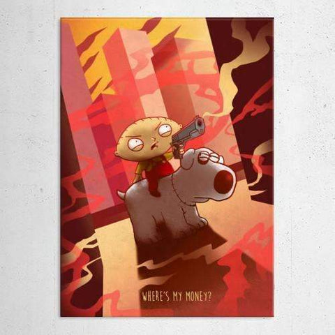 "Poster métal - Family Guy, Stewie ""Cartoon Frenzy""-Very Bad Geek"