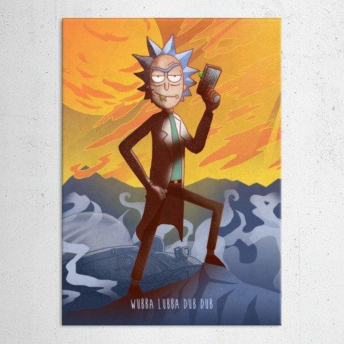 "Poster métal - Rick and Morty, Rick ""Cartoon Frenzy"""
