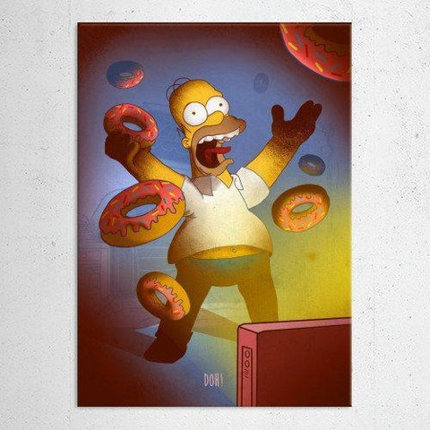 "Poster métal - The Simpsons, Homer ""Cartoon Frenzy"""