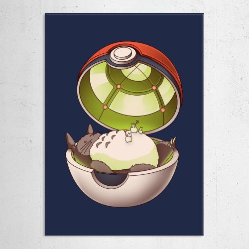 "Poster métal - Totoro Pokéball, Pocket Neighbor ""Poké Ghibli"""