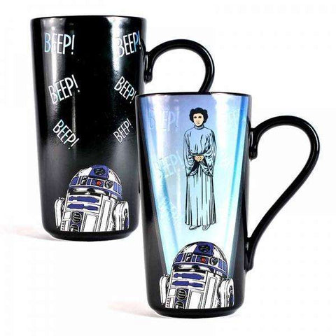 "Grand Mug à Latte Thermo-Réactif Star Wars ""Leia et R2-D2"""