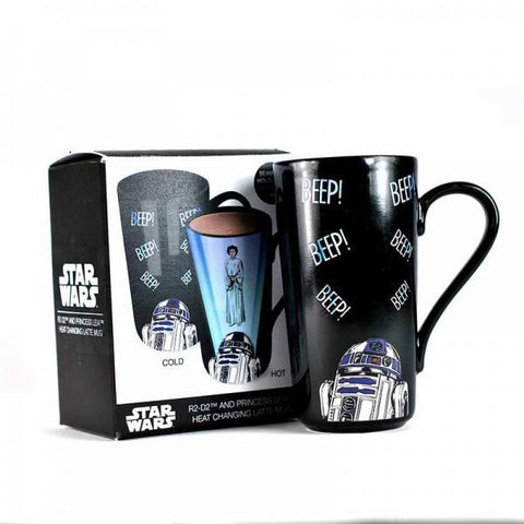 "Grand Mug à Latte Thermo-Réactif Star Wars ""Leia et R2-D2""-Very Bad Geek"