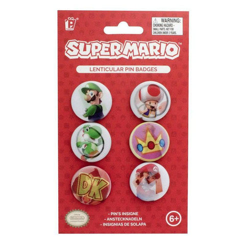 Badges lenticulaires Super Mario - set de 6