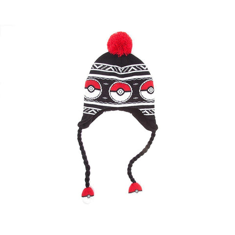 Bonnet Pokemon Pokéballs péruvien, à pompons-Very Bad Geek