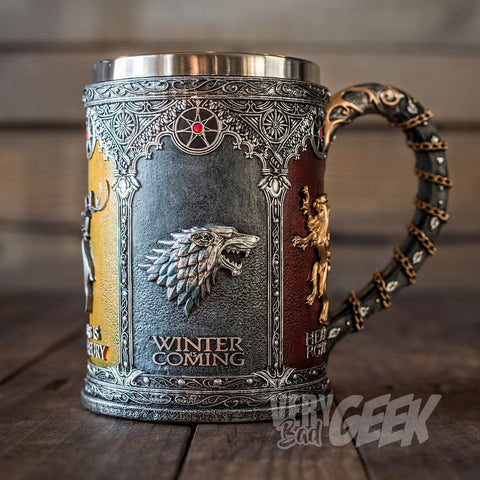 "Chope Game of Thrones artisanale ""5 Maisons"" - Sculpture de Collection"