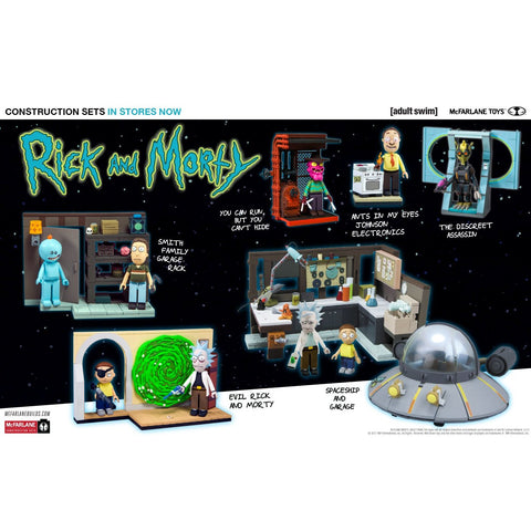 Jeu de Construction Rick and Morty - Garage et Vaisseau Spatial-Very Bad Geek
