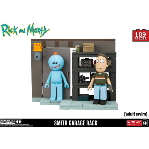 Jeu de Construction Rick and Morty - Etagères du Garage, Jerry et Mr Meeseeks