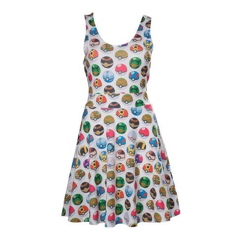 "Robe Pokemon ""motif Pokeballs"" blanche"