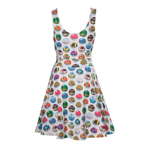 "Robe Pokemon ""motif Pokeballs"" blanche-Very Bad Geek"