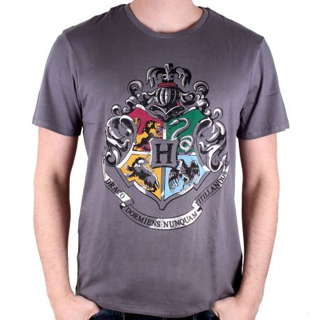 T-shirt gris 4 maisons Poudlard - Harry Potter-Very Bad Geek