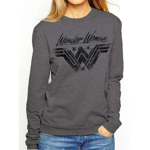 "Sweat-Shirt Femme - Wonder Woman ""Logo effet encré"" gris"