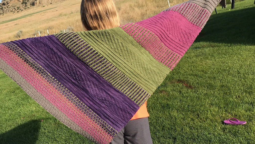 Finished shawl 'Range' by Andrea Mowry. Using Cestari Mount Vernon Worsted