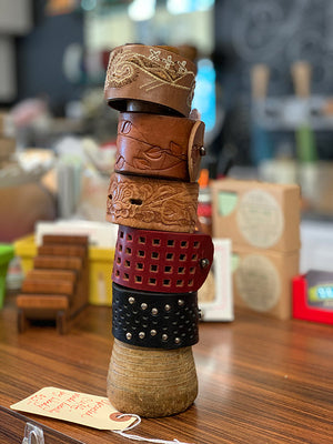 Local Upcycled Leather Cuffs