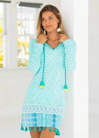 Woman wearing Coastal Cottage Hooded Cover Up