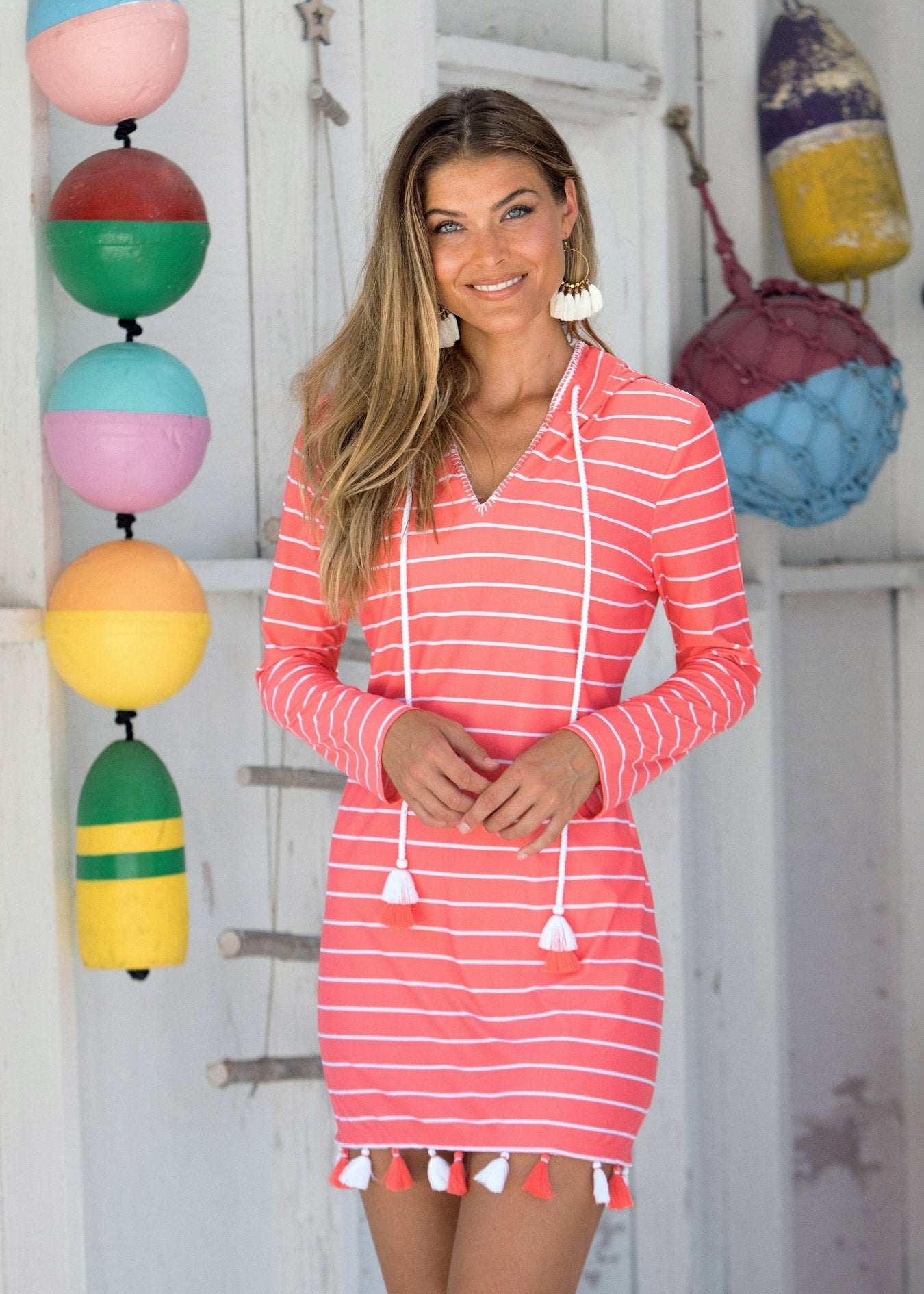 Woman wearing Spring Regatta Hooded Cover Up