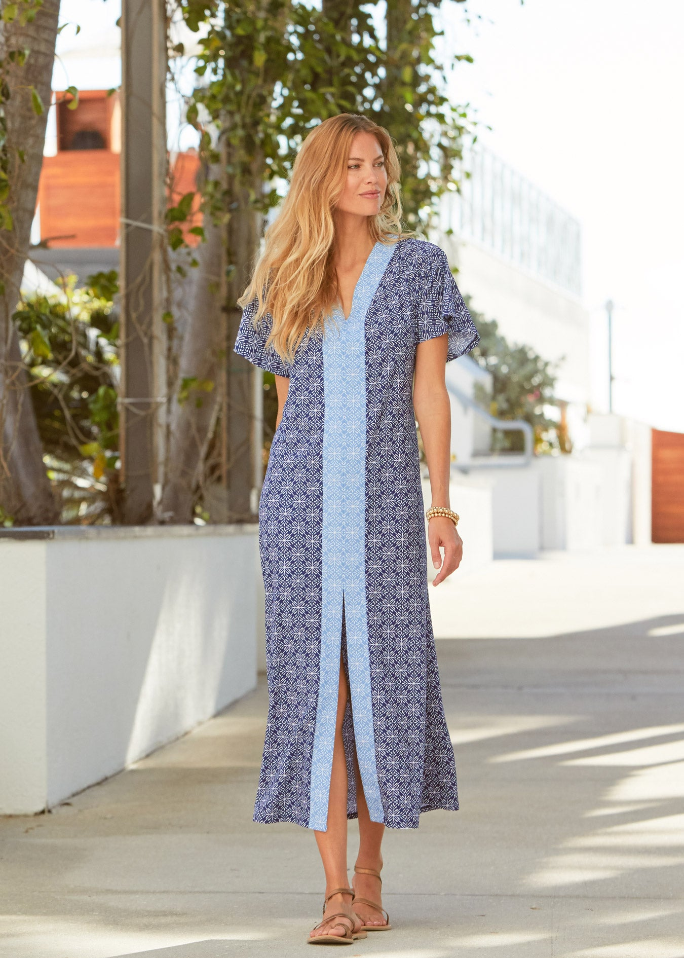 Woman wearing West Indies Maxi Dress