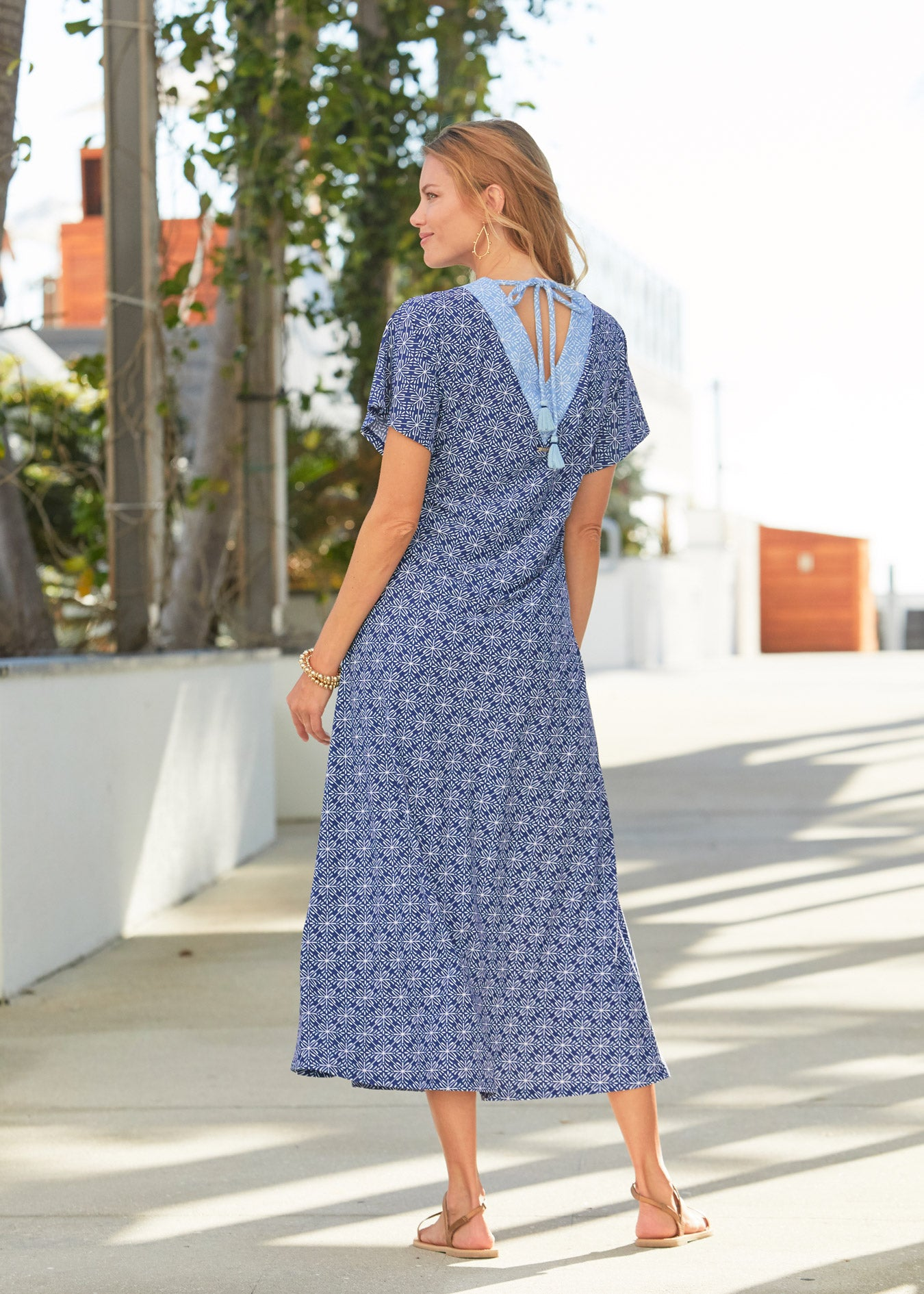 Back of woman wearing West Indies Maxi Dress
