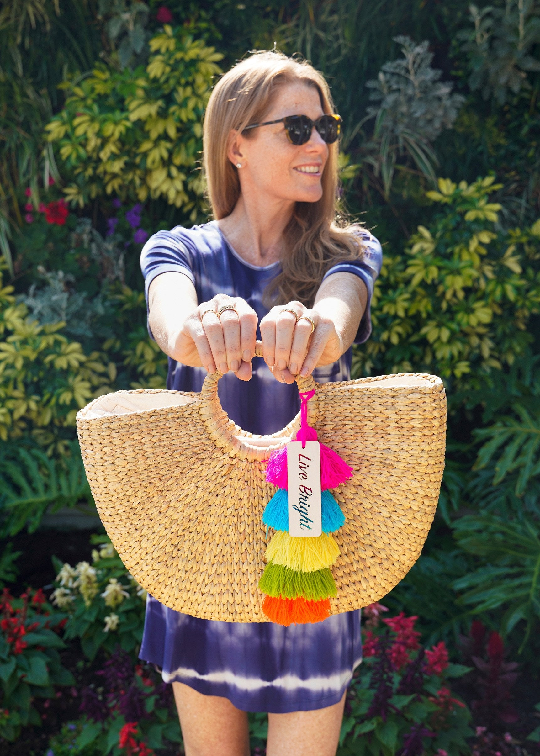 Cabana Life Founder in Navy Tie Dye Dress with Live Bright Bag