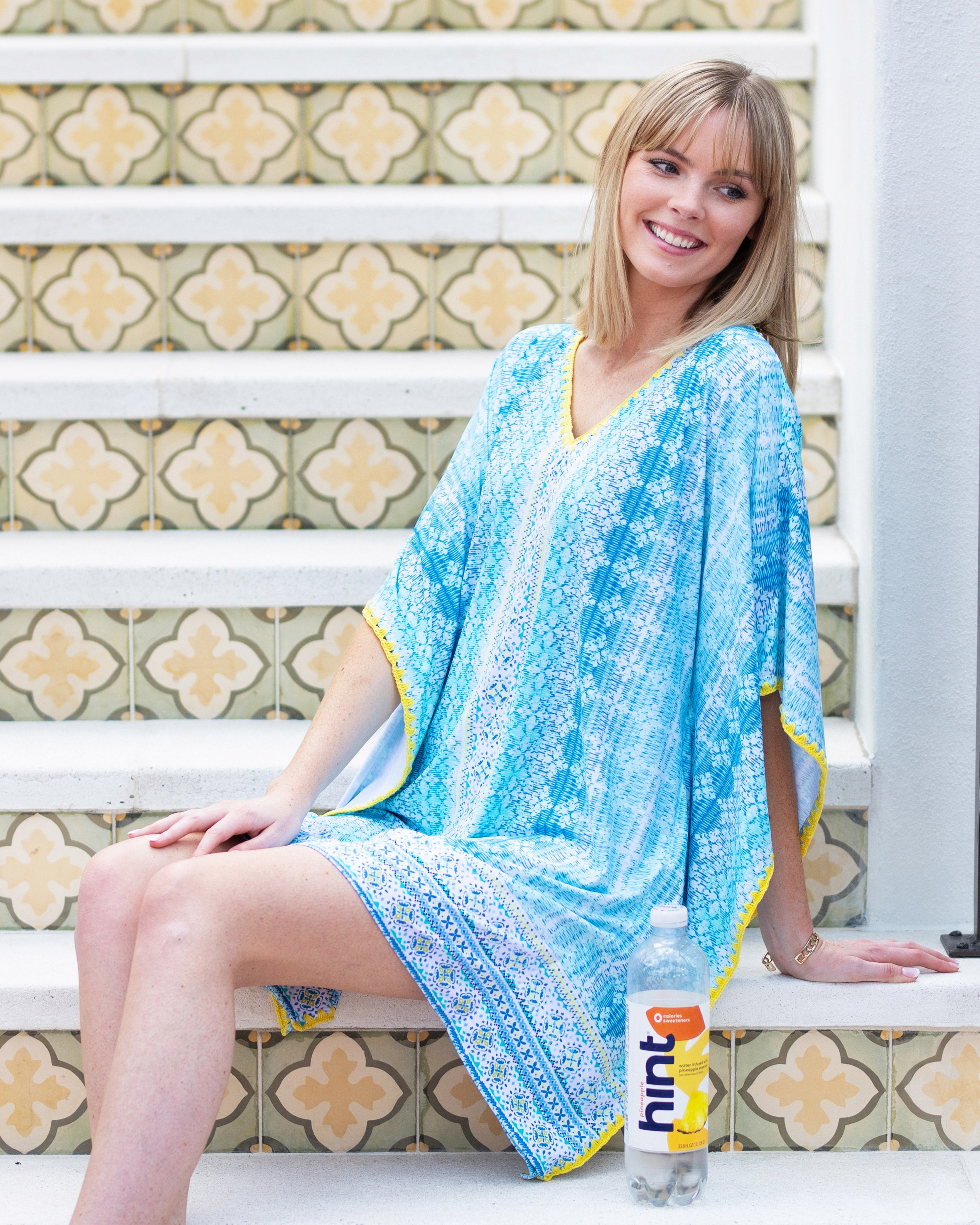 Coastal Cottage Embroidered Cover Up with Hint water