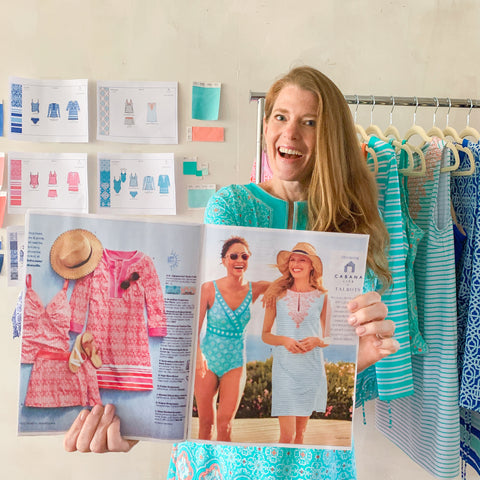 Cabana Life x Talbots Collection with Cabana Life Founder Melissa Papock holding up Talbots magazine feature