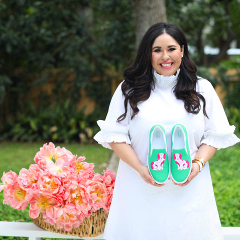 Kristel Gonzaba with her chinoiserie designed sneakers