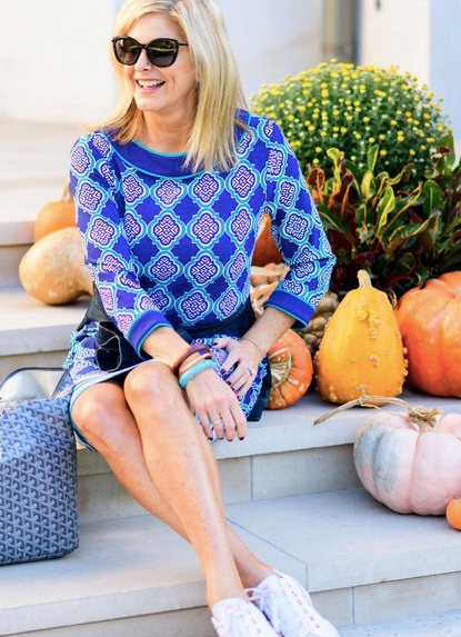 Tanya Foster wearing The Hampshire Cabana Shift Dress with UPF 50+ protection