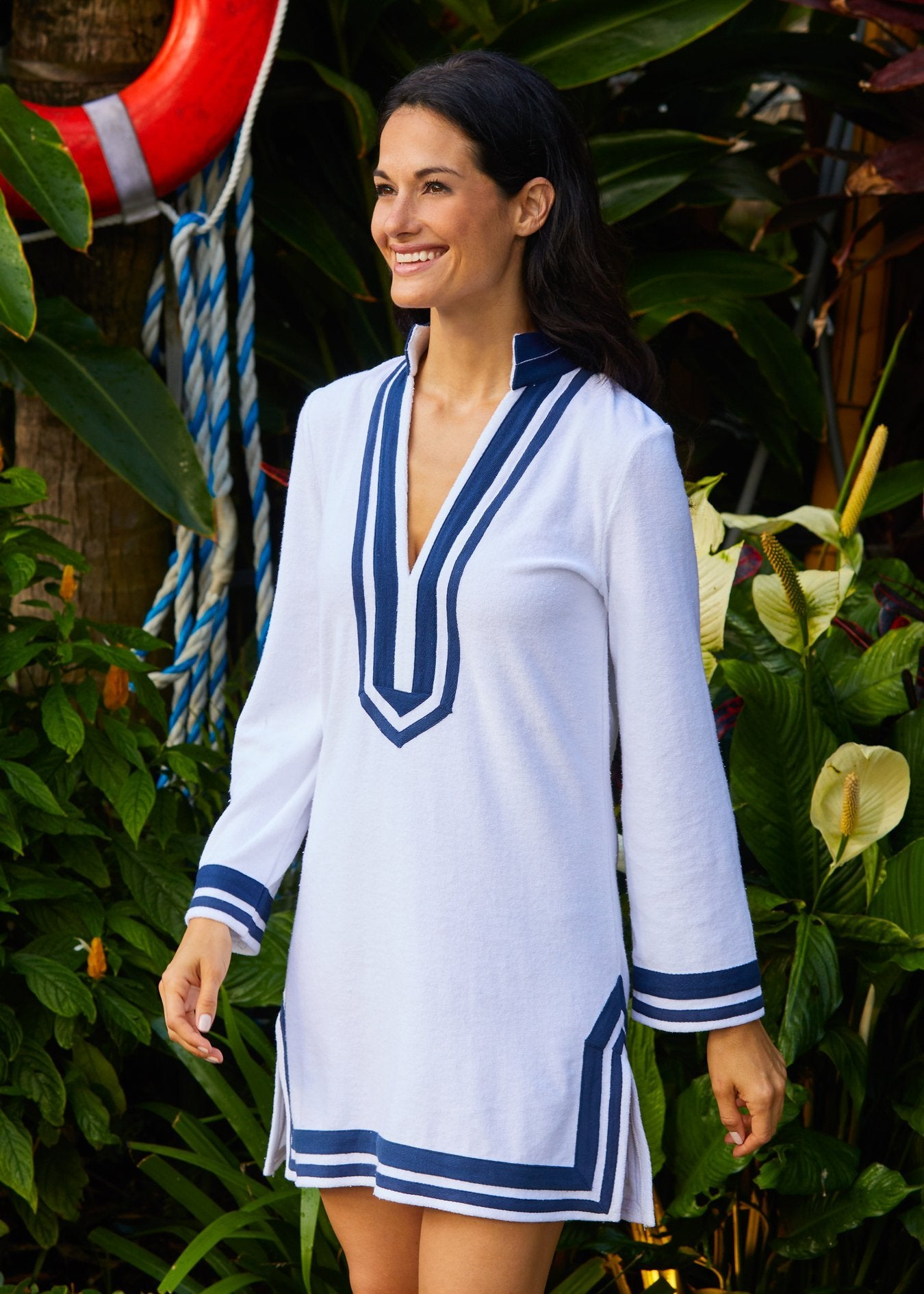 Woman wearing White/Navy Terry Cover Up with 50 UPF