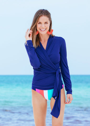 Woman on Beach in Cabana Life Navy Tie Wrap Top