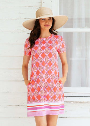 Coral Geo Cap Sleeve Swing Shift