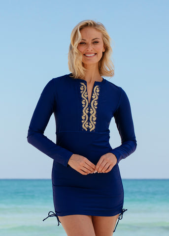 Navy Ruched Embroidered Rashguard