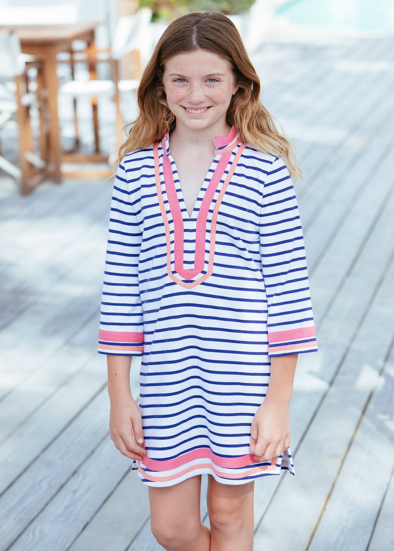 Girl wearing Navy Geo Terry Tunic Cover Up with UPF 50+ sun protection