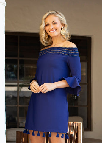 Woman wearing Navy Off The Shoulder Dress