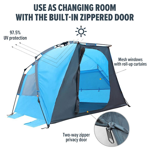 OutdoorMaster Pop Up Beach Tent XL - Easy Setup, Portable