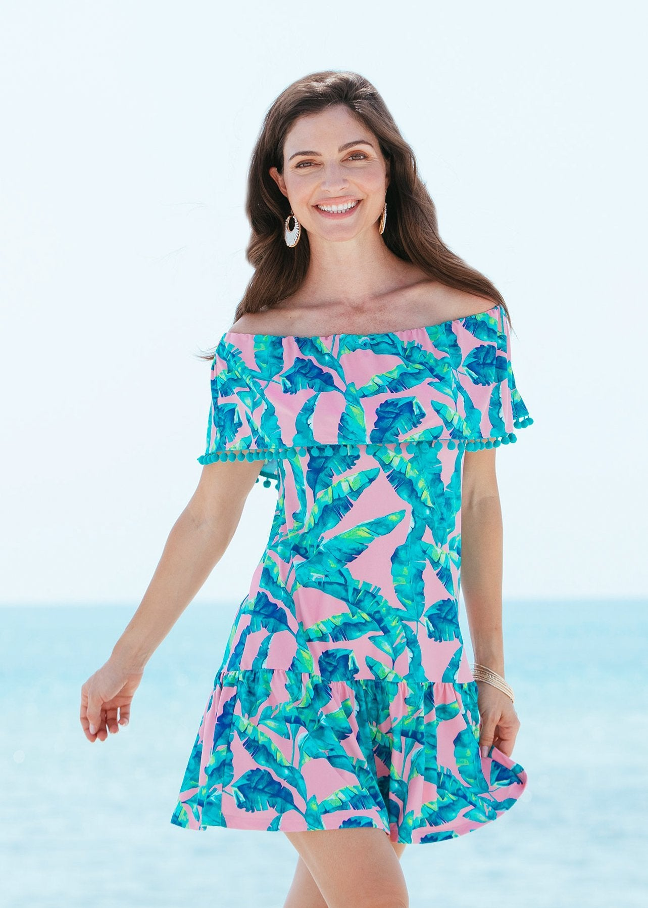 Woman wearing Preppy Palm Off the Shoulder Ruffle Dress with UPF 50+ Sun Protection