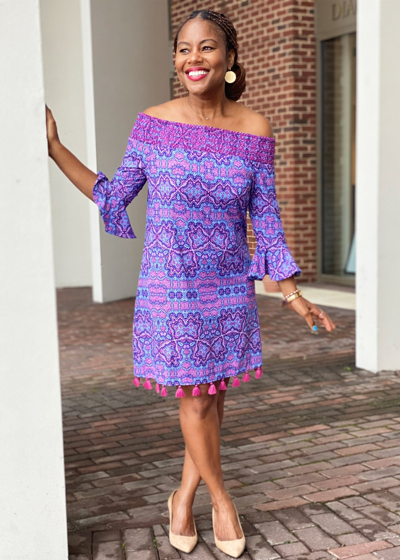 Tonya Parker wearing the Carolina Off the Shoulder Dress with UPF 50+ protection