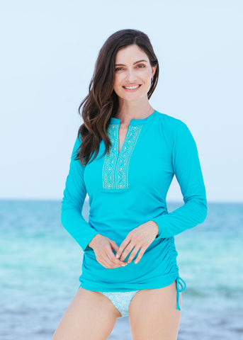 Turquoise Ruched Embroidered Rashguard